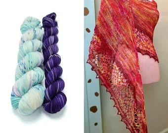Fingering Weight Yarn Kit 100g & 50g with Optional Shawl Pattern, Hand Dyed, Sock Yarn, Superwash Merino Nylon - Mermaid Trouser Coughs