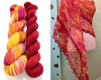 Fingering Weight Yarn Kit 100g & 50g with Optional Shawl Pattern, Hand Dyed, Sock Yarn, Superwash Merino Nylon - Plumeria
