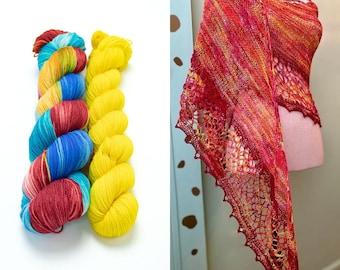 Fingering Weight Yarn Kit 100g & 50g with Optional Shawl Pattern, Hand Dyed, Sock Yarn, Superwash Merino Nylon - Grab Your Beach Towel