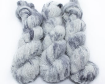 Suri Alpaca Silk Yarn, Hand Dyed, Speckled, Alpaca Silk Lace Weight, Brushed Alpaca 50 g, Alpaca Floof - Ghost *In Stock