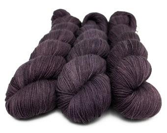Semi Solid Sock Yarn, Hand Dyed, Superwash Merino Nylon Fingering Weight 100 g, Staple Sock  - I Scream for Aubergine *In Stock