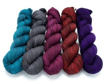 5 Skein Sock Yarn Set, Sock Yarn, Sweater Set, Hand Dyed, Speckled, Superwash Merino, Fingering Weight 100g, Staple Sock - Vampire's Den