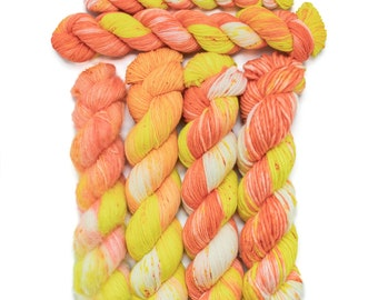 Sale - Wildflowers & Trial Batch for Candy Corn - Staple Sock, Alpaca Floof, Super Squishy Worsted, 20g/50g Staple Sock, Maizy Super Bulky