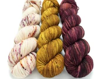 Worsted Weight Yarn Kit (3) 100g Skeins with Optional Shawl Pattern, Hand Dyed, Superwash Merino Yarn Kit - Rosewater, Oh Honey Honey, Elton