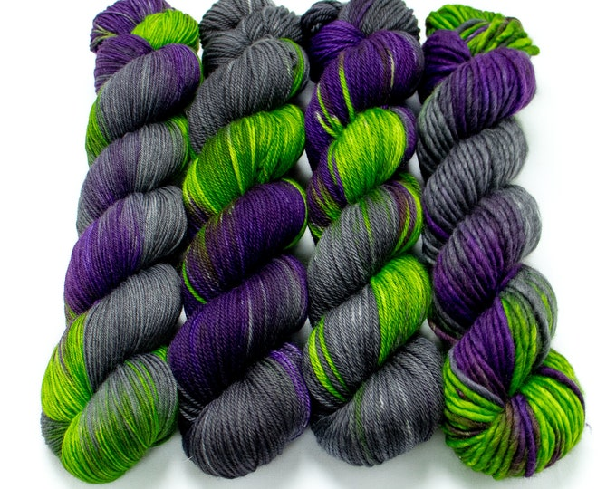 Featured listing image: Yarn of the Month - Witching Hour - Choose your base - Sock, Worsted, MCN, Alpaca, Super Bulky, Sport, Mohair, Singles, Sparkle Sock