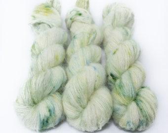 Suri Alpaca Silk Yarn, Hand Dyed, Speckled, Alpaca Silk Lace Weight, Brushed Alpaca 50 g, Alpaca Floof - Castaway *In Stock