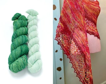 Fingering Weight Yarn Kit 100g & 50g with Optional Shawl Pattern, Hand Dyed, Sock Yarn, Superwash Merino Nylon - Emerald