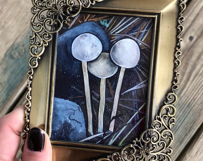 Triple White Mushrooms Mini Painting
