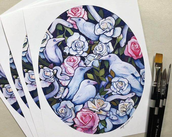 Serpents, Ravens, and Roses Art Print