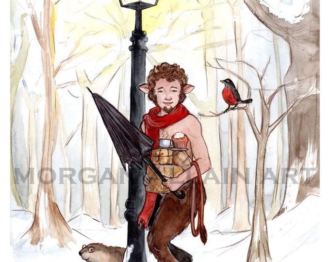 Mr. Tumnus at the Lamp-post Art Print