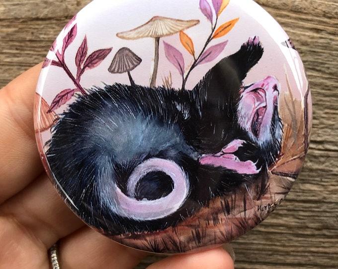 Dramatic Opossum Button Pin