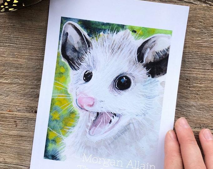 Screaming Opossum 5x7 Art Print
