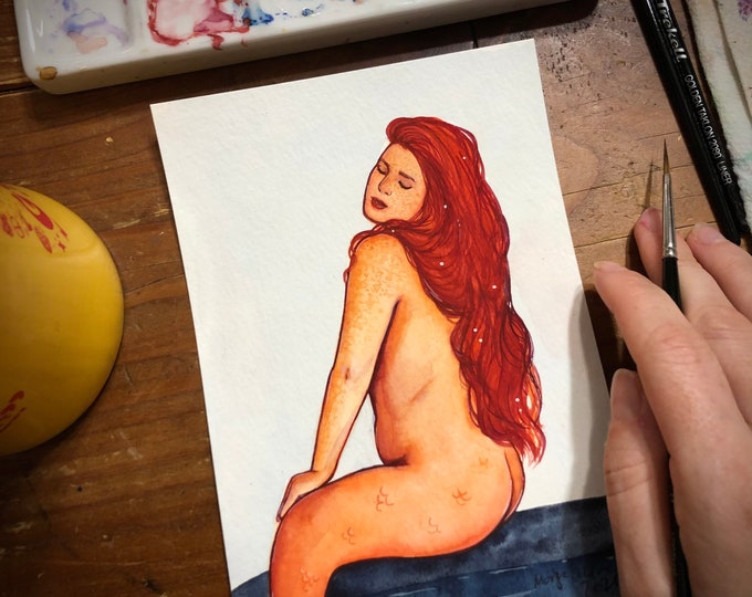 Red Orange Mermaid 5x7 Watercolor