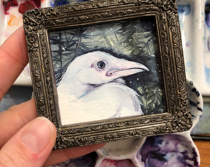 White Raven Mini Painting