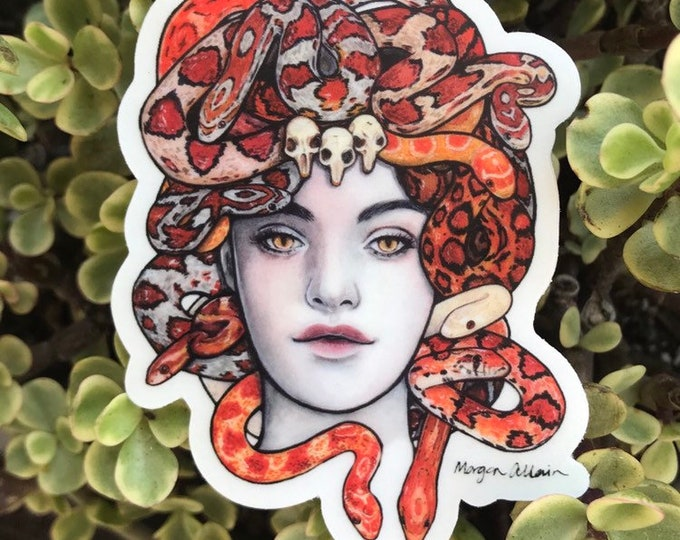 "Medusa Clear Vinyl Sticker 3x2.3"""