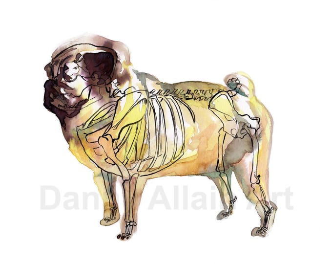 Pug Bones Art Print