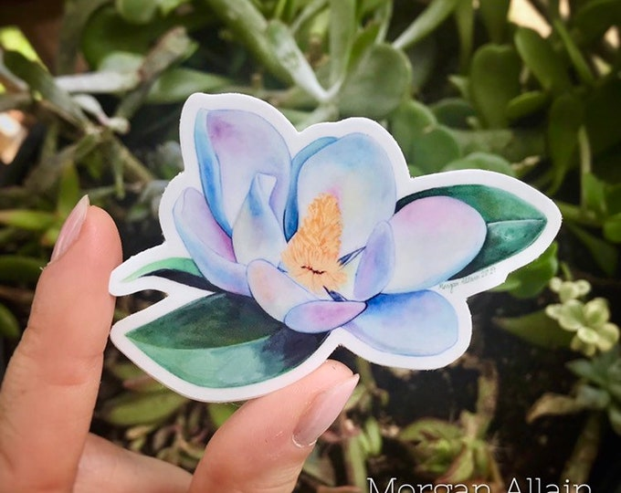 Magnolia Bloom Vinyl Sticker 3x2.3""