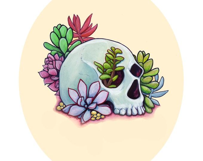 Skull and Succulents Art Print