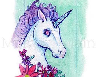 6e105e502 Mint and Lavender Unicorn Art Print