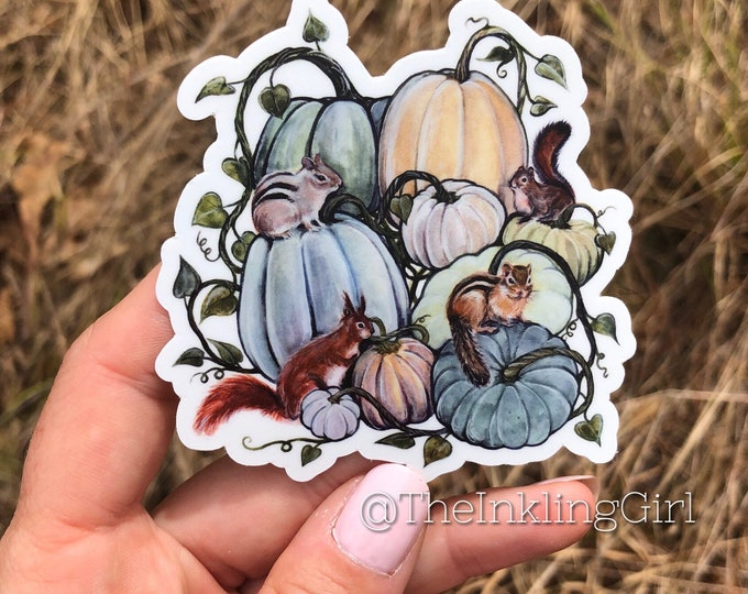 Squash and Squirrels Vinyl Sticker 3x2.75