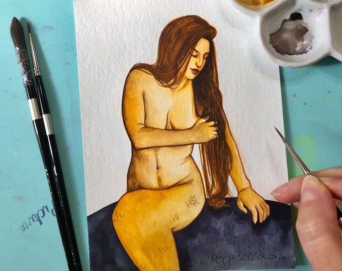 Golden Ocean Mermaid 5x7 Watercolor