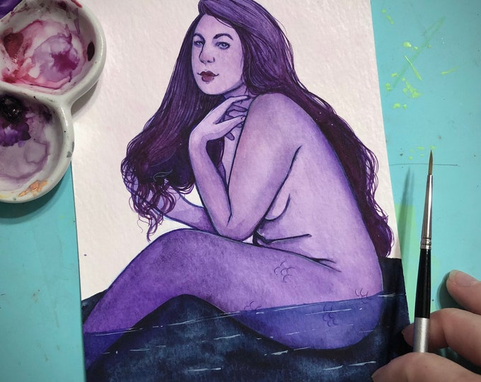 Lavender Lagoon Mermaid 5x7 Watercolor