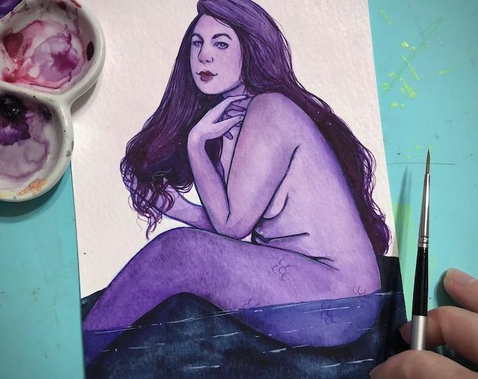 Lavender Lagoon Mermaid 5x7 Watercolor