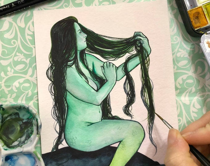 Green Cove Mermaid 5x7 Watercolor