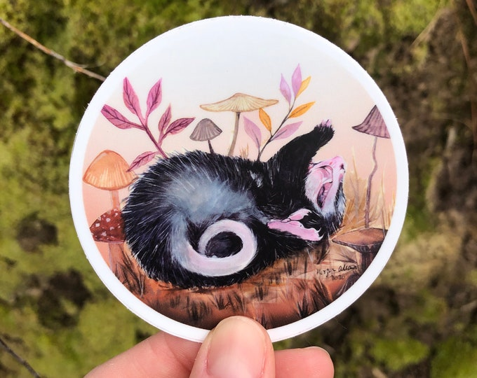 Dramatic Opossum Vinyl Sticker 3x3