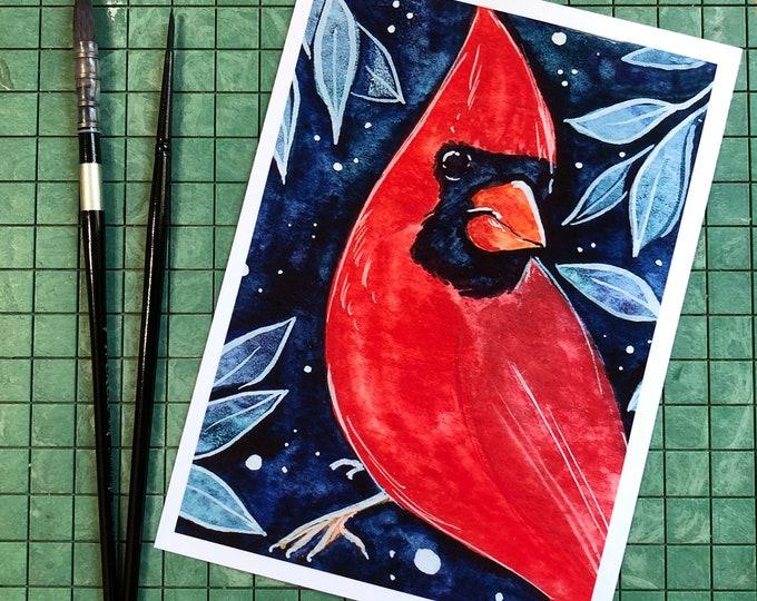 Cardinal Red Bird 5x7 Art Print
