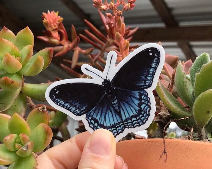 "Black and Blue Butterfly Vinyl Sticker 3x2.6"""