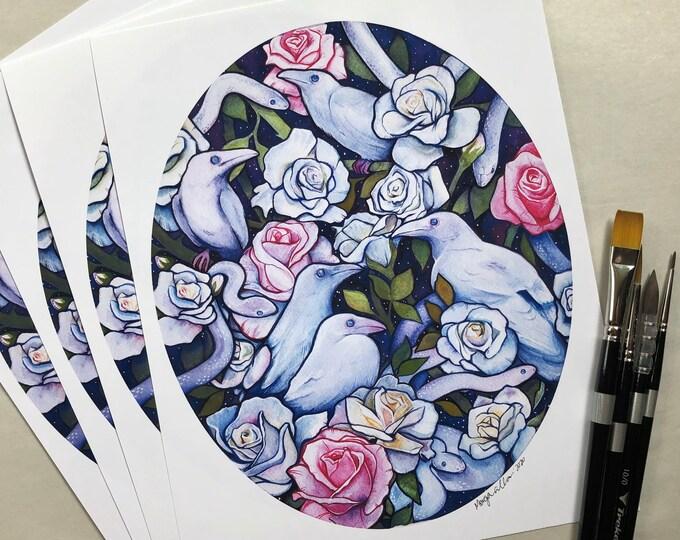 Serpents, Ravens, and Roses Art Print
