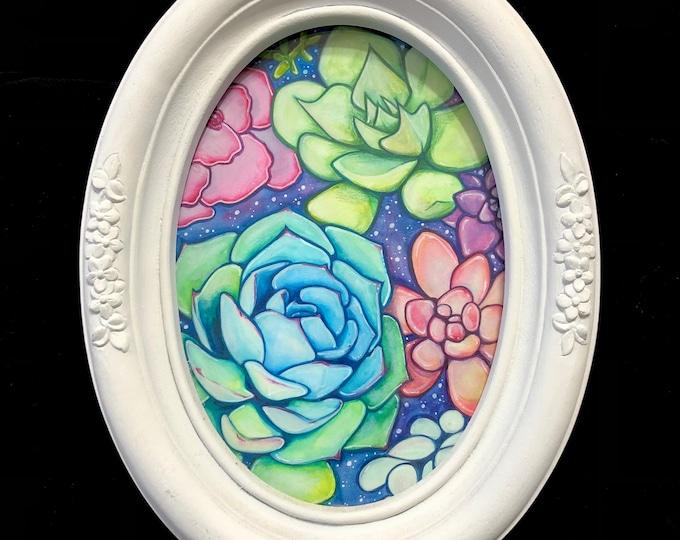 Blue Botanical Original Watercolor