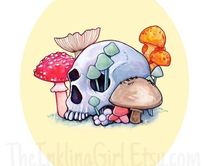 Skull and Shrooms Art Print