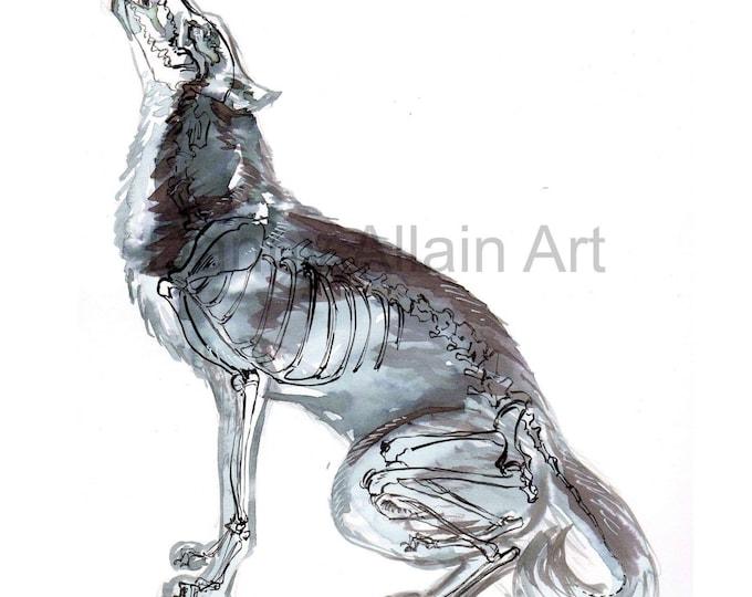 Howling Wolf Bones Art Print