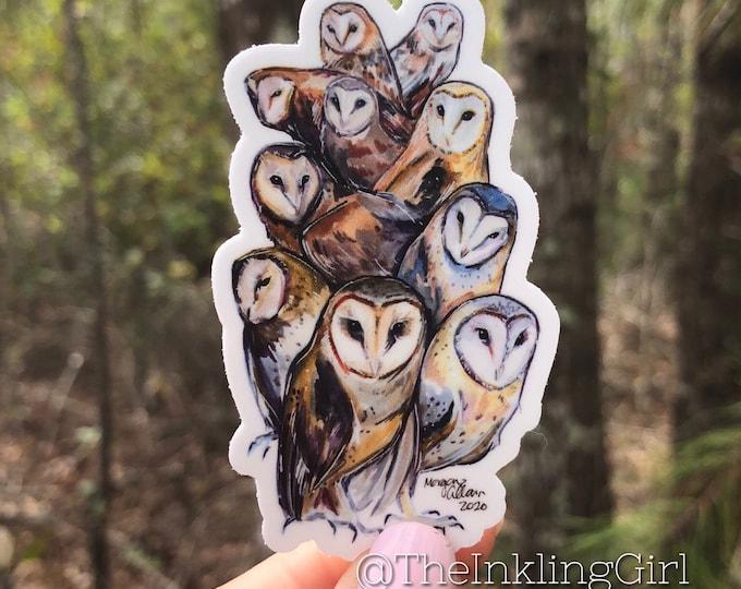 Extraterrestrial Owls Vinyl Sticker 3x1.5
