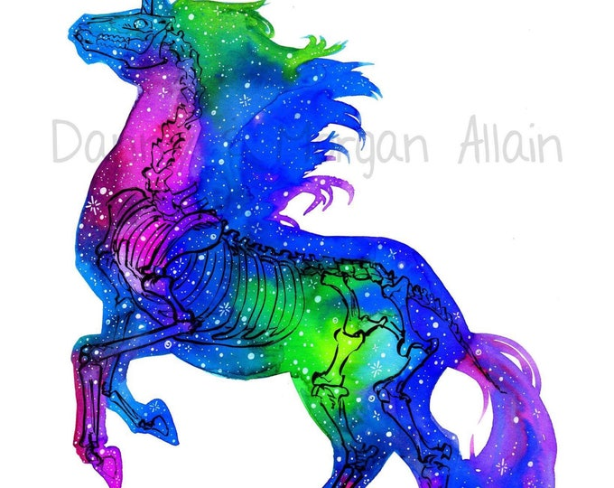 Galaxy Unicorn Bones Art Print