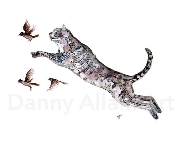 Predator Cat  Bones Art Print