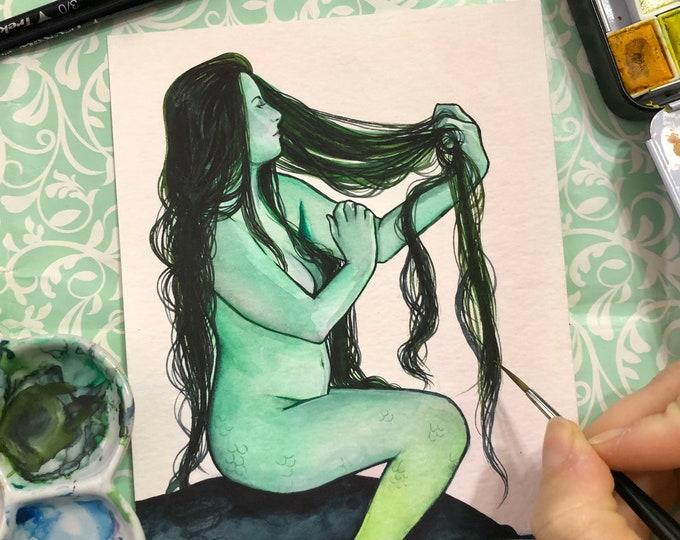 Green Cove Mermaid 5x7 Watercolor