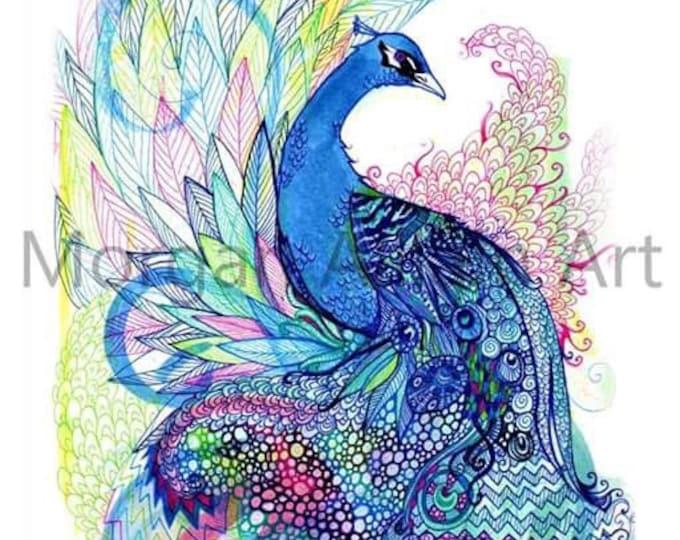Blue Wild Peacock Art Print