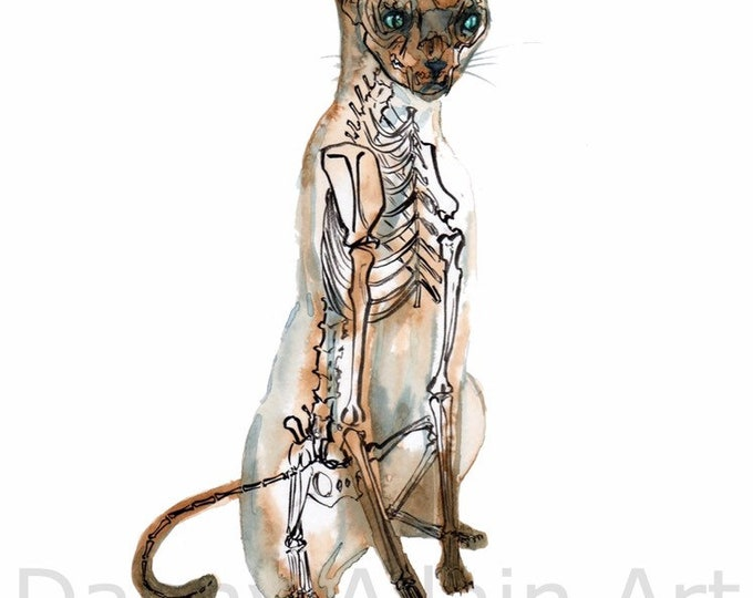 Siamese Cat  & Mouse Bones Art Print