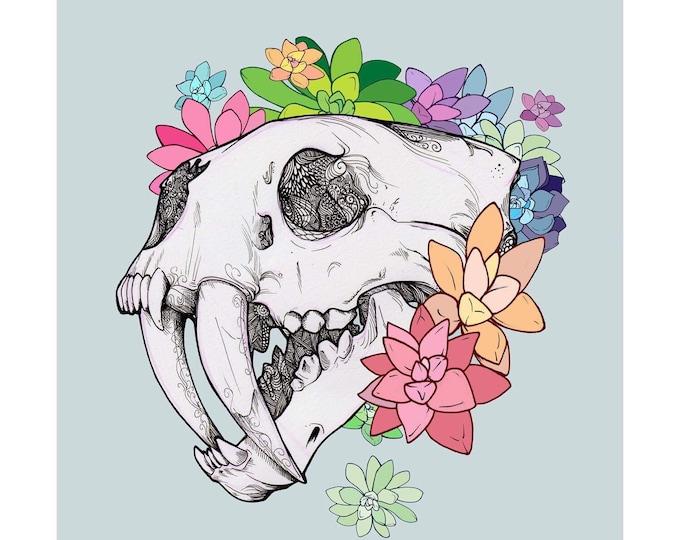 Pastel Sabertooth Skull Art Print