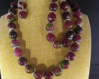 Multi color agate jewelry set- vibrant colors, lovely set