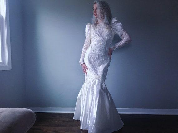 beaded mermaid wedding gown vtg
