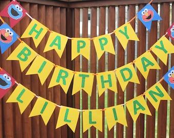 Sesame Street birthday banner with name!
