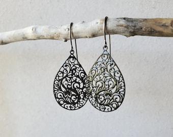 Floral Lace Design Filigree Earrings, Titanium Hooks, Sensitive Ears, Hypoallergenic, Delicate Cutout Design, Black, White, or Brown