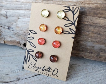 Fall Leaves Collection, Titanium Posts, Glitter Studs Gift Box 4 Pair, Sensitive Ears, Hypollergenic, Fall Colors