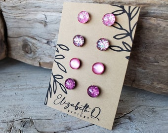 Pretty In Pink Collection, Glitter Studs Four Pair Gift Set, Titanium Posts, Sensitive Ears, Hypoallergenic, Super Sparkly Glitter