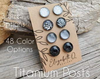 Wood Stud Earrings French Country Blue and Rose Gold Glitter Surgical Steel Posts for Sensitive Ears by Wrap Star Boutique handmade fashion jewelry 10mm