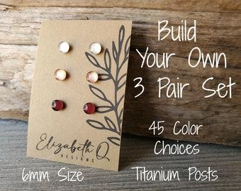 Small Studs, Build Your Own Custom Set, Glitter Studs Gift Box 3 Pair, Titanium Posts, Hypollergenic, Sensitive Ears